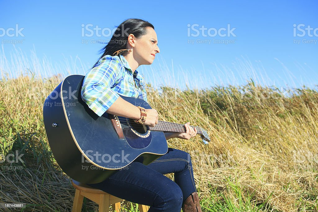 Guitar Play royalty-free stock photo