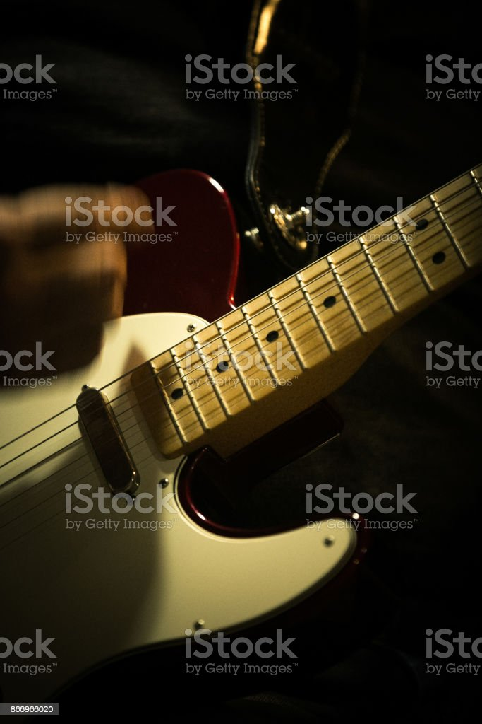 Guitar Player Picking Strings And Playing Chords Stock Photo More