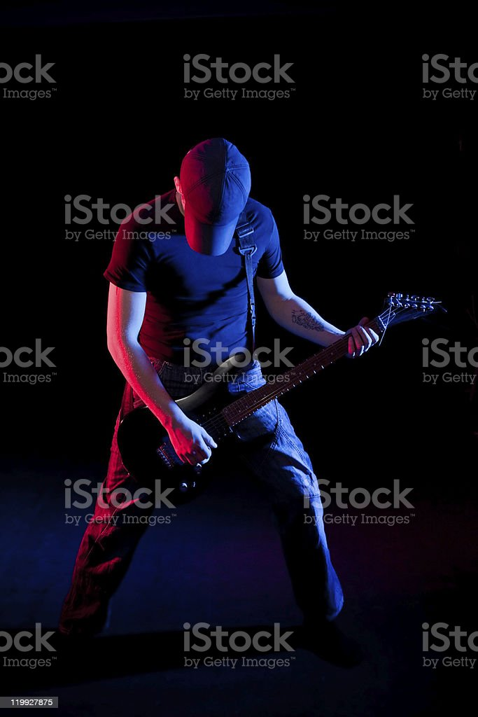 guitar playing royalty-free stock photo