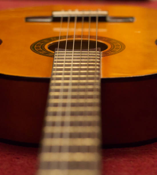 Guitar ready to be played stock photo