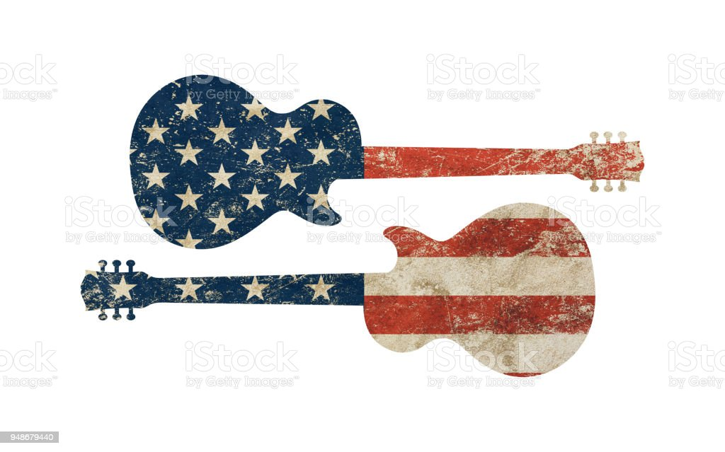 Guitar shaped old grunge vintage American US flag stock photo