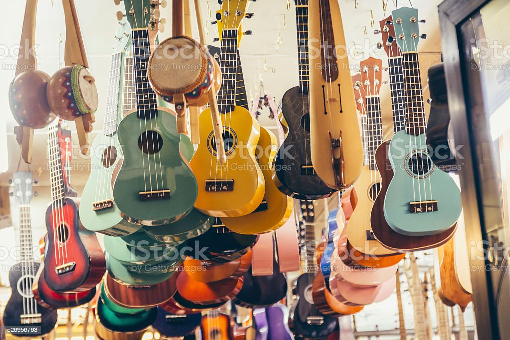 Guitar shop stock photo