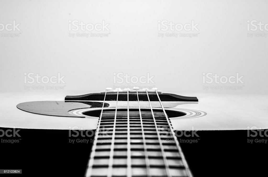 Guitar Strings, close up. Acoustic guitar. stock photo