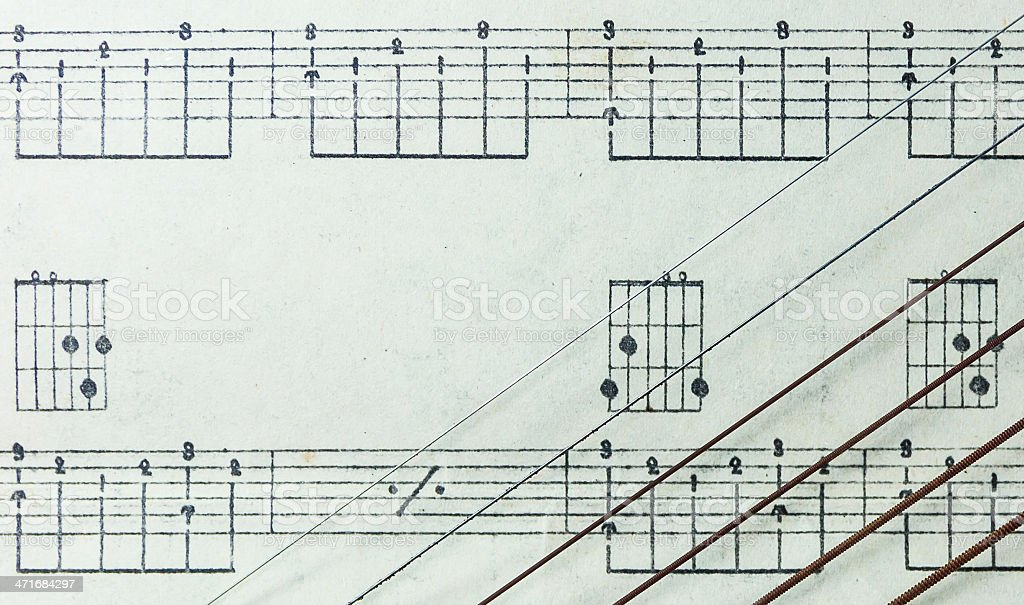 Guitar Strings on Old Yellowed Music Sheet no Lyrics, Closeup royalty-free stock photo
