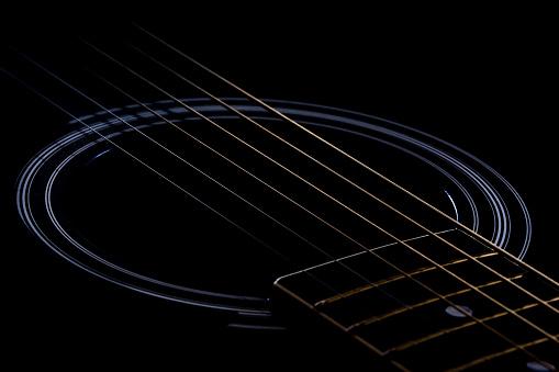 Broken string on a guitar.