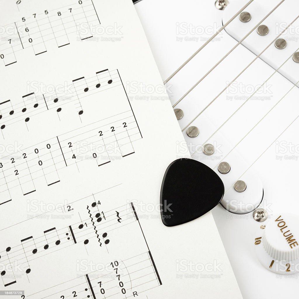 Guitar tablatures stock photo