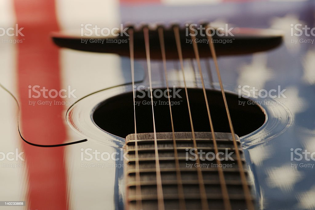 Guitar with American Flag stock photo