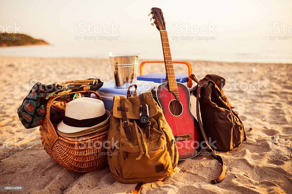 Guitar,backpack and everything is ready for party. stock photo