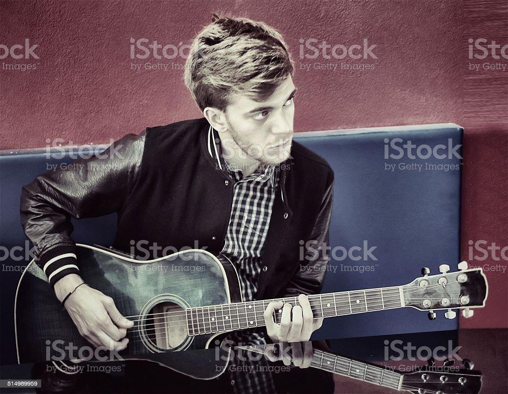 Guitarist. 50's style stock photo
