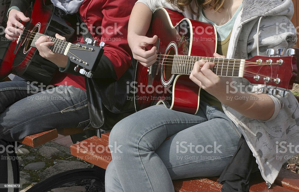 Guitarist duet stock photo