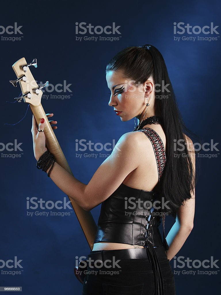 Guitarist from back royalty-free stock photo