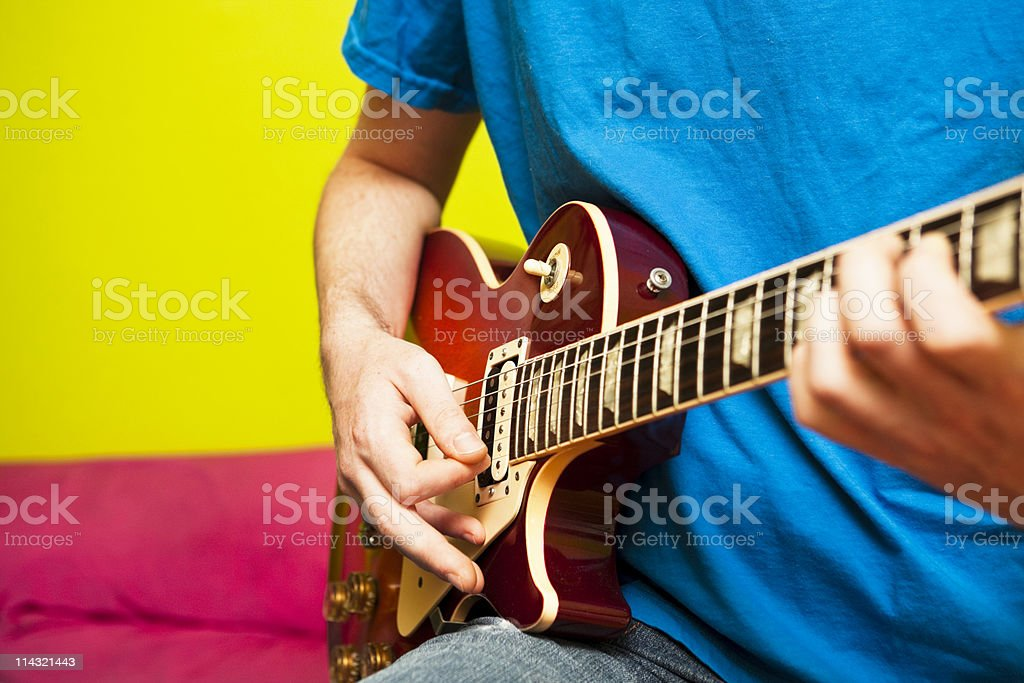 Guitarist in color royalty-free stock photo