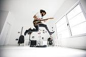 Guitarist jumping
