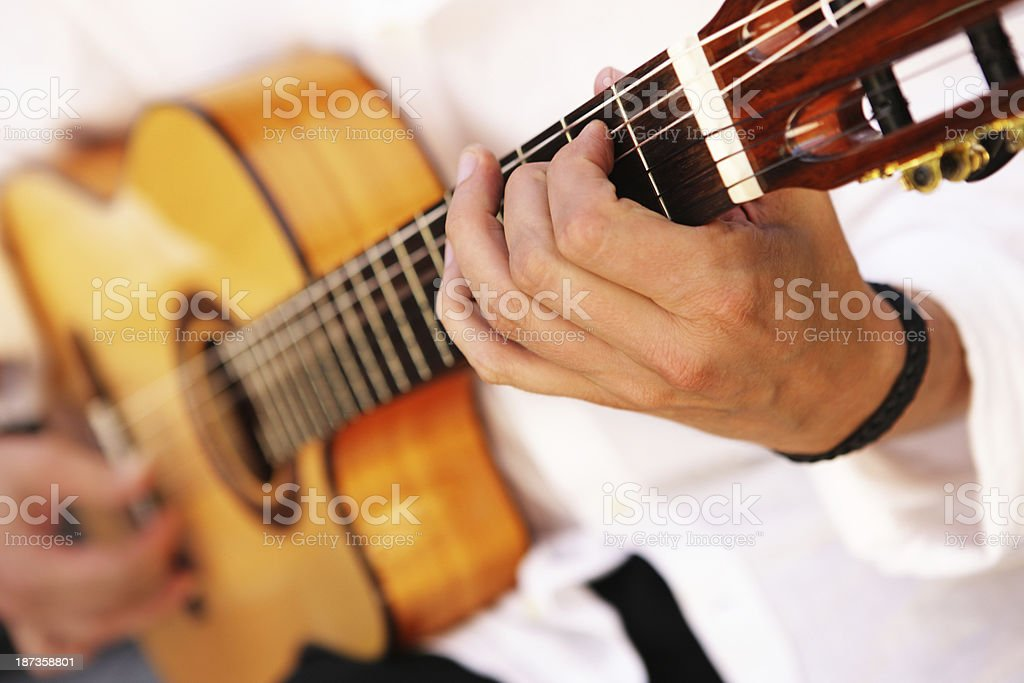 Guitarist Musician Playing Acoustic Guitar stock photo
