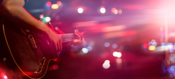 guitarist on stage for background, soft and blur concept - arts culture and entertainment stock pictures, royalty-free photos & images