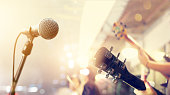 istock Guitarist on stage, soft and blur concept 613552524