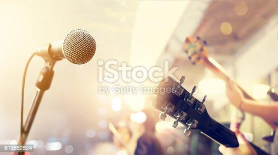 Guitarist on stage, soft and blur concept