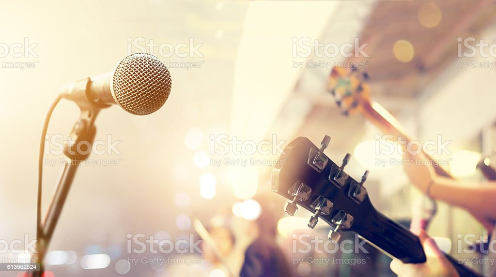 Guitarist on stage, soft and blur concept stock photo