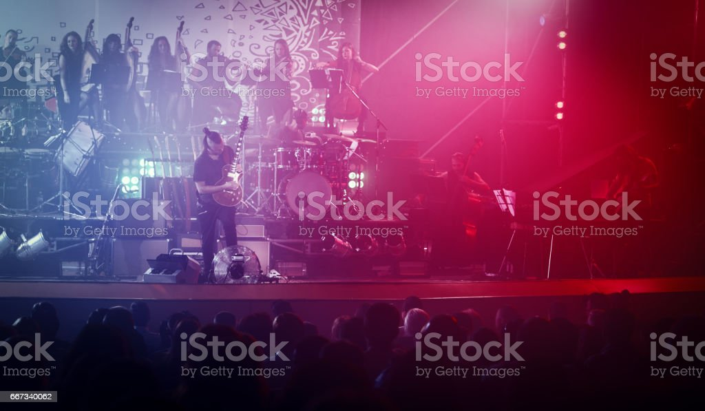 Guitarist performing on stage. Concert. stock photo