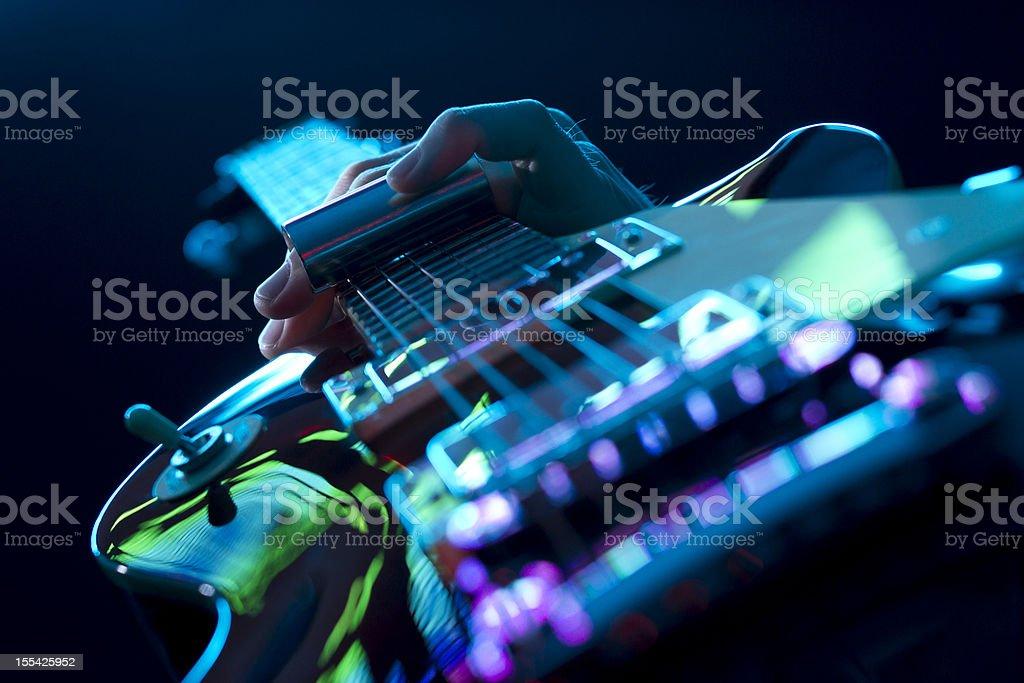 Guitarist Playing Slide Guitar stock photo