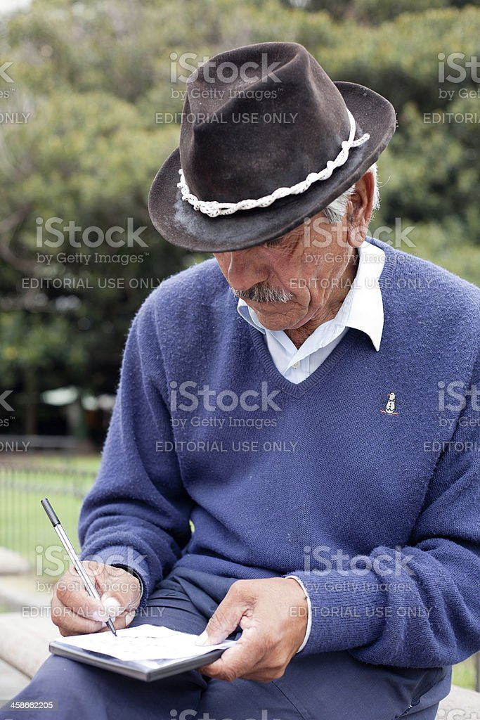 Guitarist signing his music CD for the customer stock photo