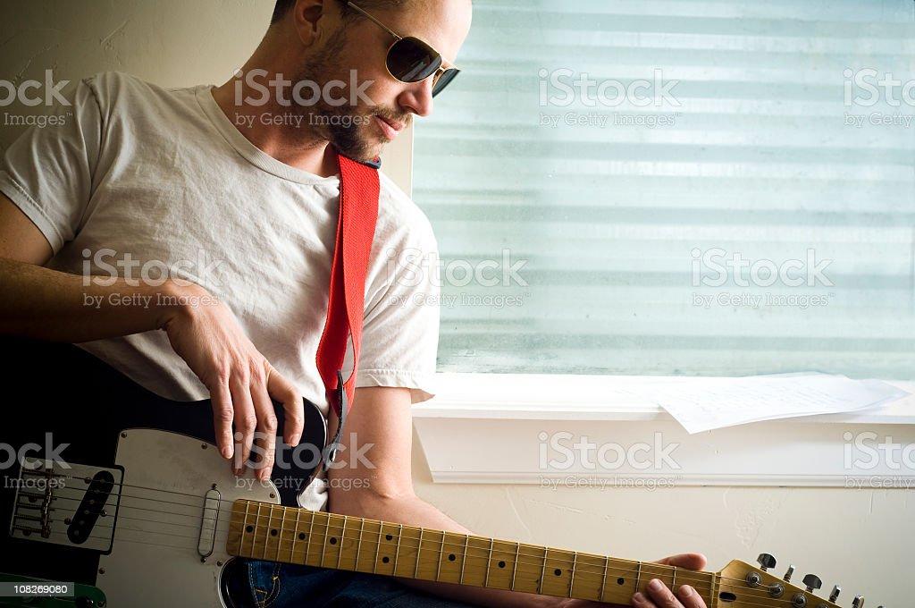 Guitarist with Sunglasses stock photo