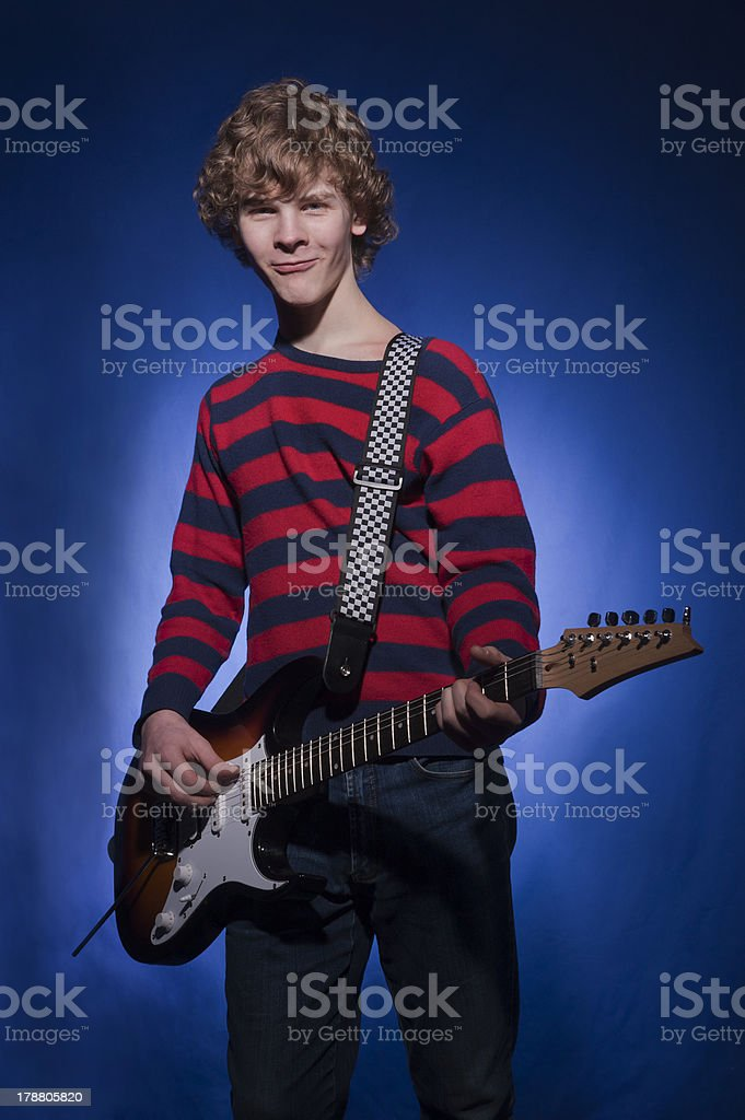 guitarist with the electric guitar royalty-free stock photo