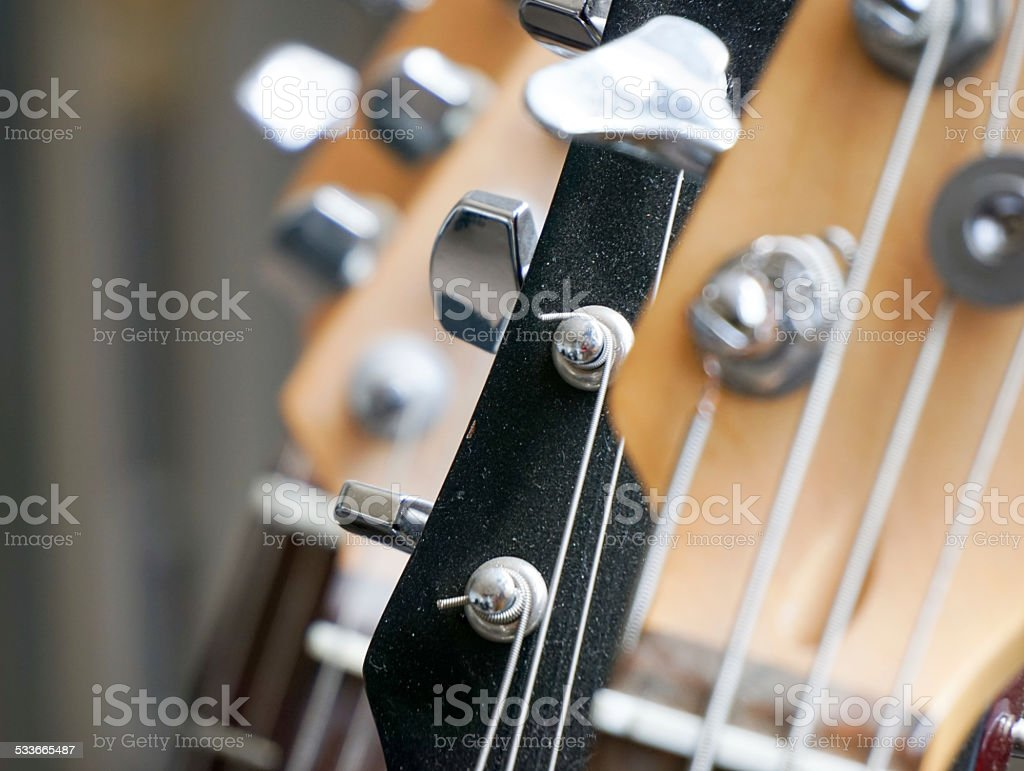 Guitars in rack. stock photo