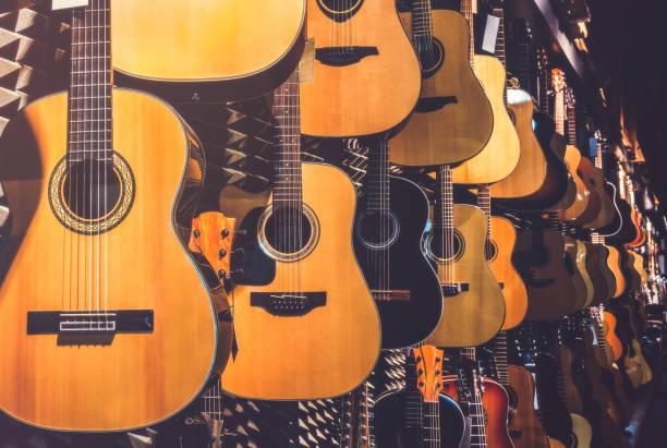 Guitars in Shop stock photo