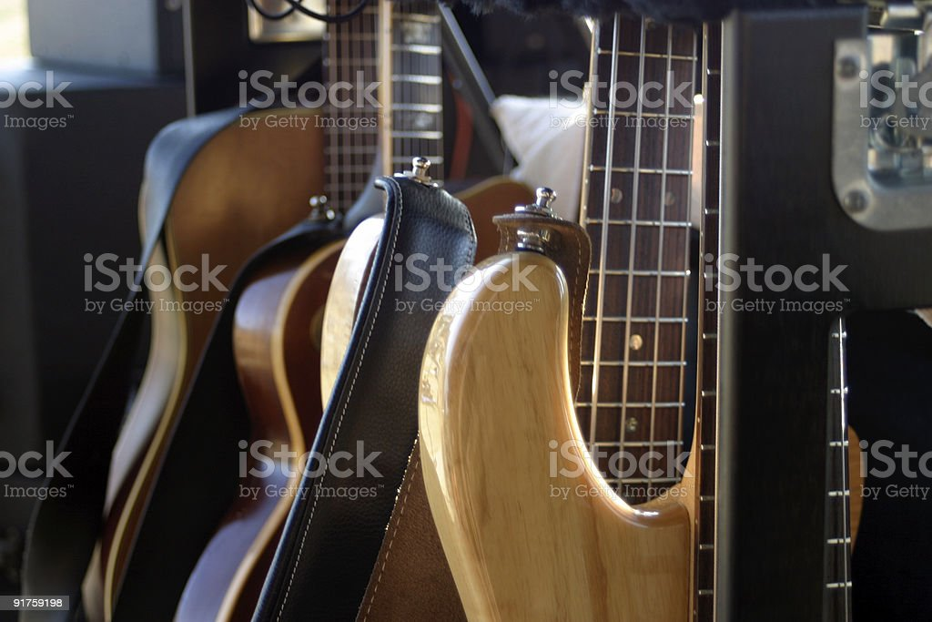 Guitars on stage royalty-free stock photo