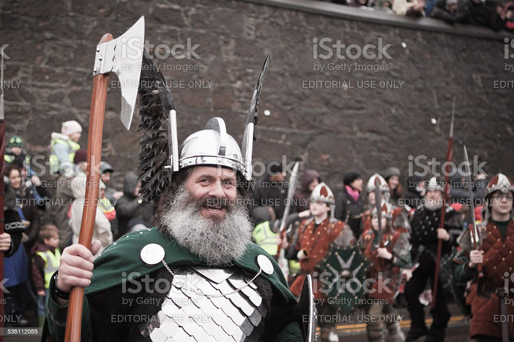 Guizer Jarl Marching on Shetland Up Helly Aa day 2015 stock photo