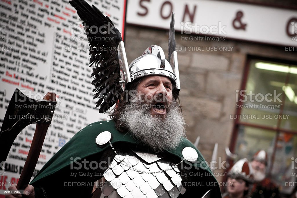 Guizer Jarl Roaring on Shetland Up Helly Aa day 2015 stock photo