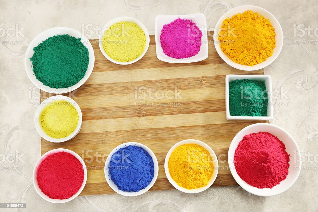 Gulal or Face Powder at Holi stock photo
