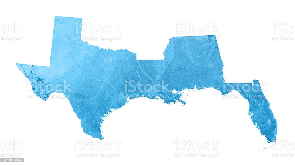 Gulf Coast States USA Topographic Map Isolated stock photo