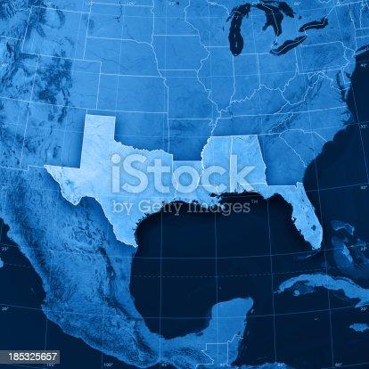 istock Gulf Coast States USA Topographic Map 185325657