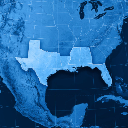 186815169 istock photo Gulf Coast States USA Topographic Map 185325657