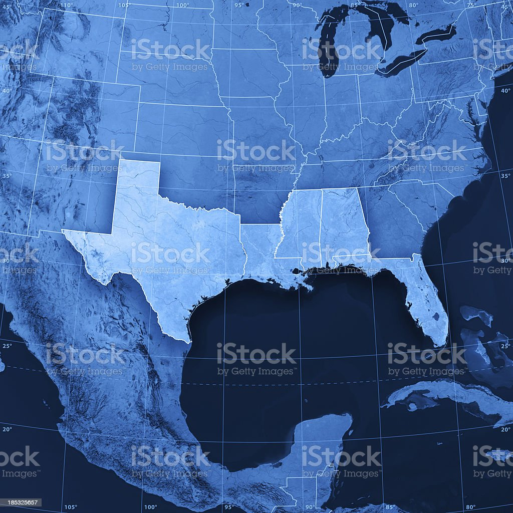 Gulf Coast States USA Topographic Map stock photo