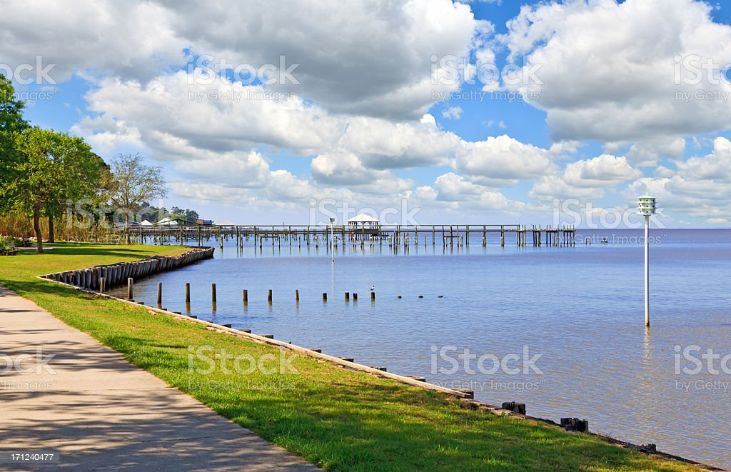 Gulf Coast View in Fairhope Alabama stock photo