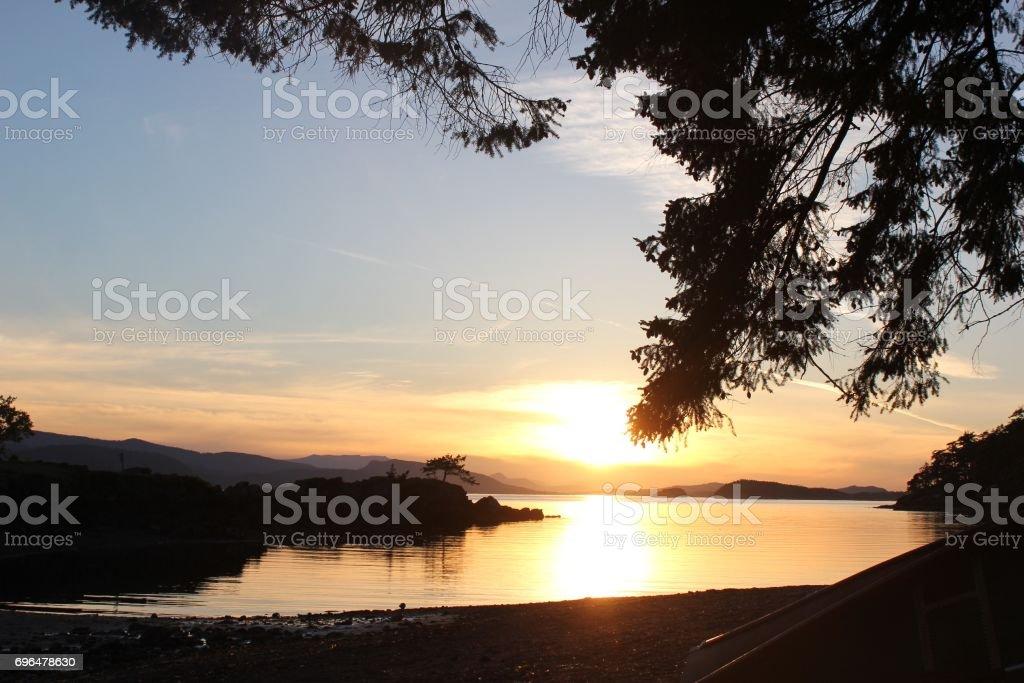 Gulf Island Sunset stock photo
