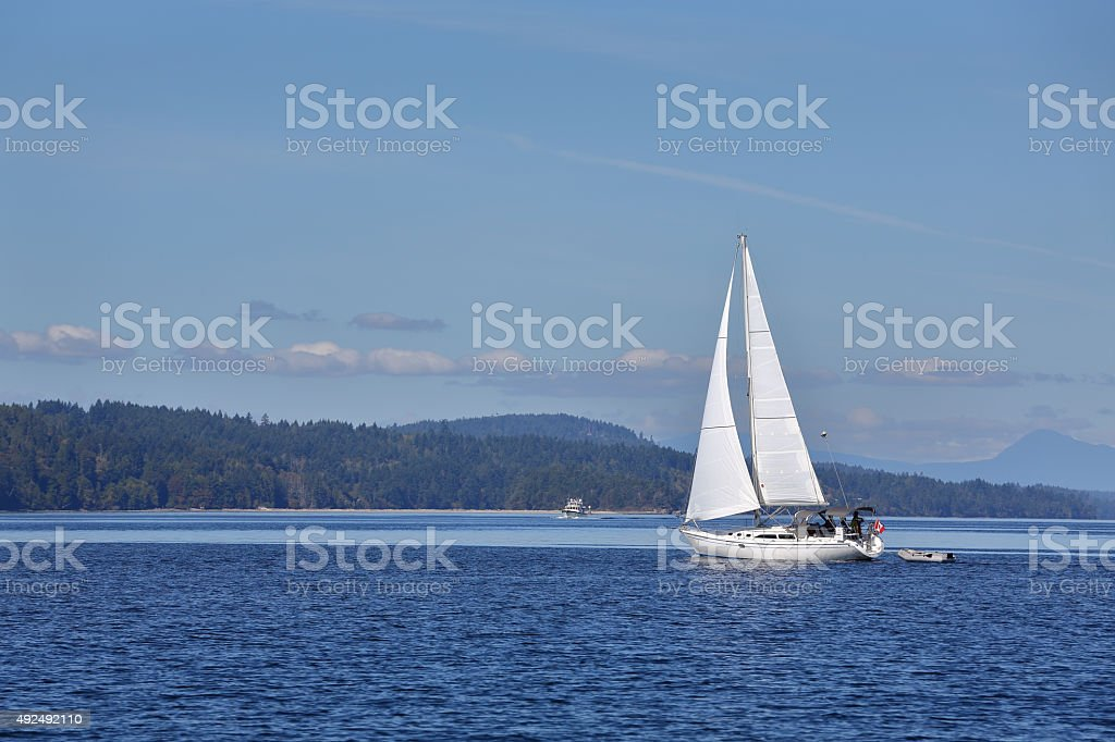 Gulf Islands Sailing, British Columbia stock photo
