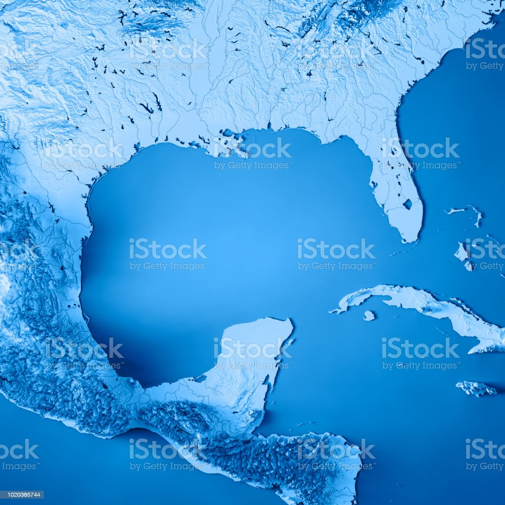 Gulf Of Mexico 3d Render Topographic Map Blue Stock Photo - Download Image  Now