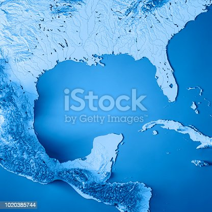 186815169istockphoto Gulf of Mexico 3D Render Topographic Map Blue 1020385744