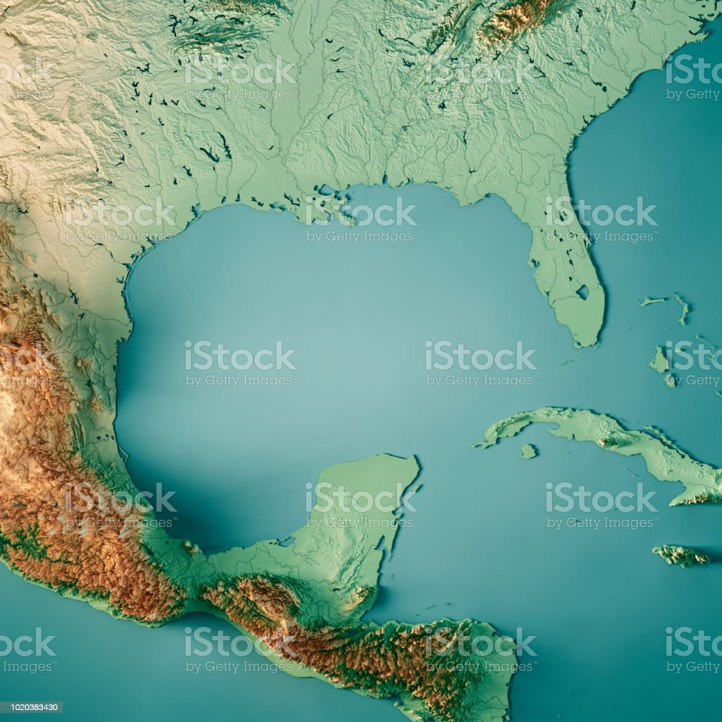 Gulf Of Mexico 3d Render Topographic Map Color Stock Photo More