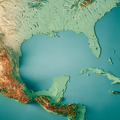 istock Gulf of Mexico 3D Render Topographic Map Color 1020383430