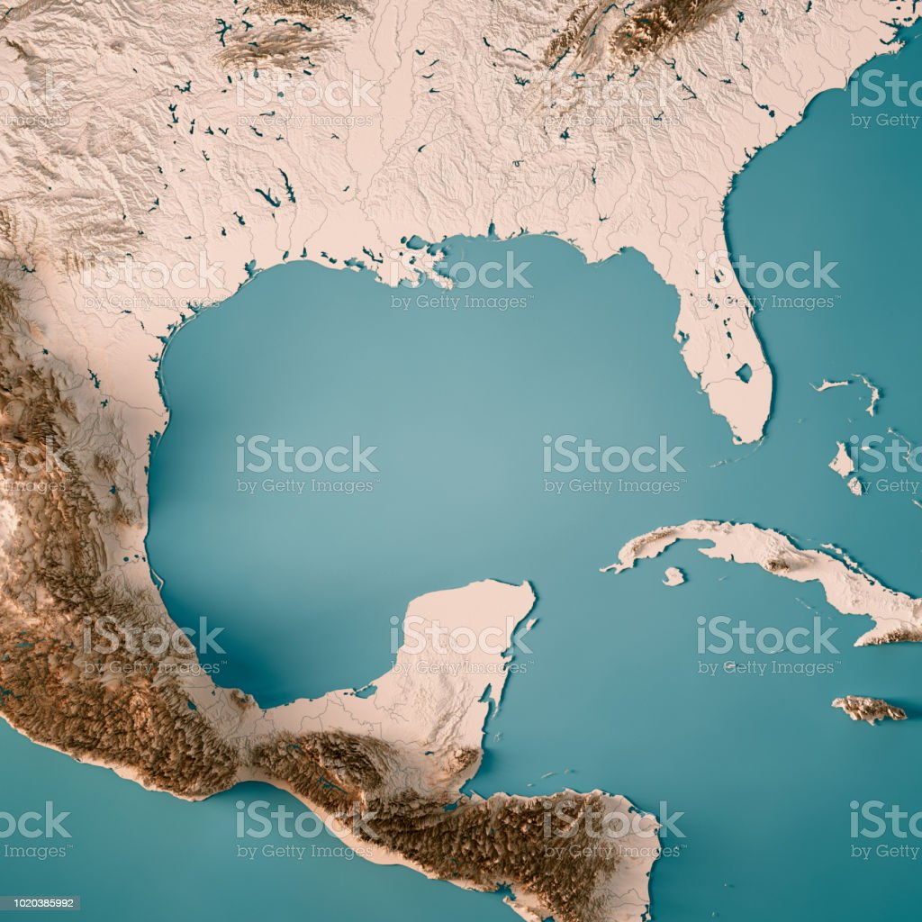 Gulf Of Mexico 3d Render Topographic Map Neutral Stock Photo & More ...