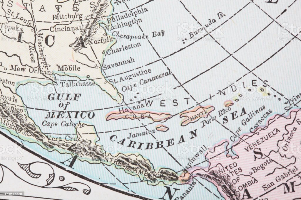 Gulf of Mexico and Caribbean sea stock photo