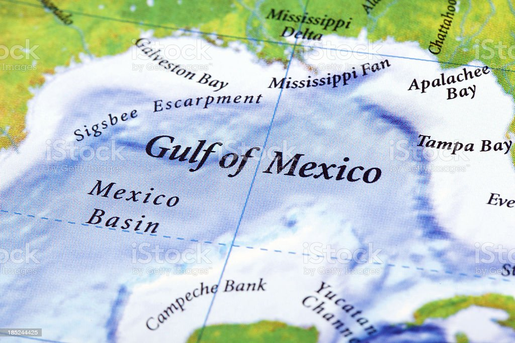 Gulf of Mexico Map stock photo