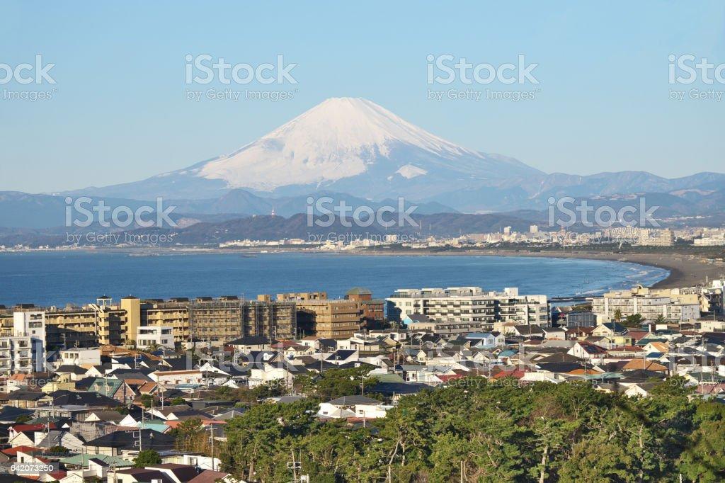 Gulf of Sagami and Mount Fuji stock photo