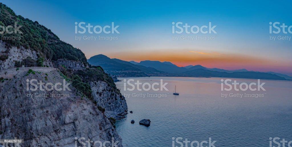Gulf of Salerno, panorama at sunrise seen from the Amalfi Coast. stock photo