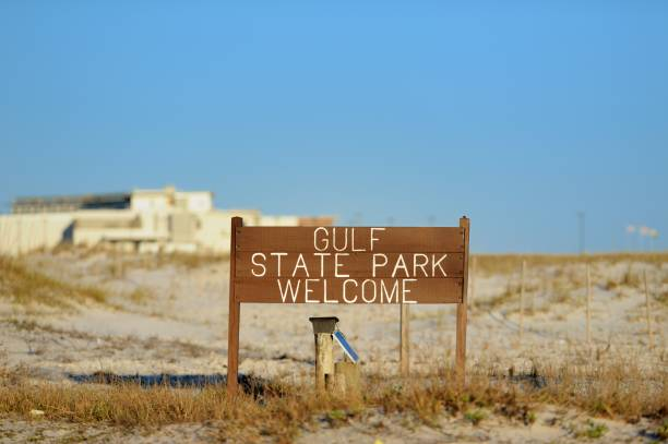 Gulf State Park welcome sign on beach stock photo